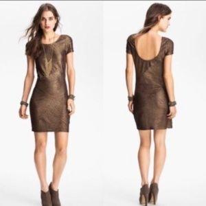 Free People Metallic Bronze Mini Dress